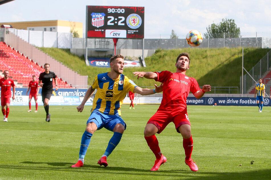 Can Coskun (r.) machte gegen Braunschweig sein wohl bestes Spiel für Zwickau.