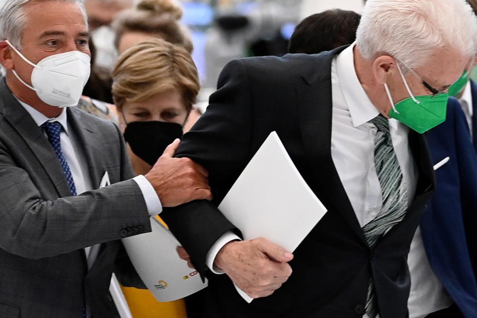 Sind sich einig: Vizeregierungschef Thomas Strobl (61, CDU) und Ministerpräsident Winfried Kretschmann (72, Grüne)