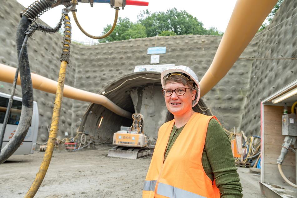 Susann Dulig ist seit 2020 Patin des Kohlbergtunnels. Um ihn zu bauen, müssen 50.000 Kubikmeter Gestein bewegt werden.