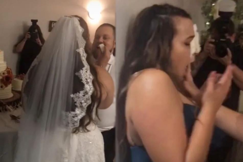 Erst wirkte alles ganz normal, dann klatschte Melanie die Hochzeitstorte ins Gesicht.