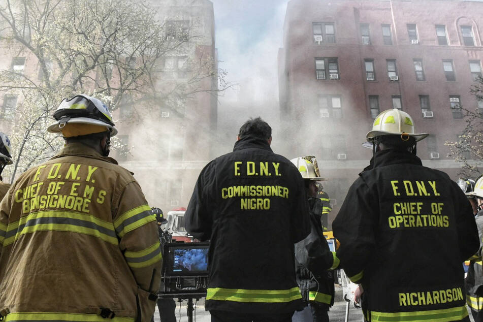 Firefighters of the FDNY are struggling to get an eight-alarm fire in Queens, New York, under control.