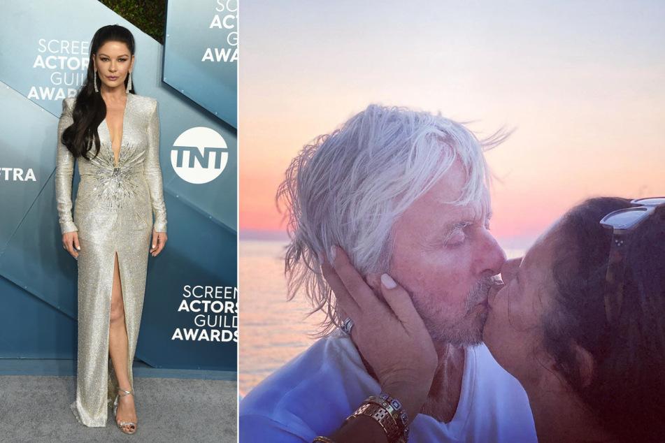 Oscar-Preisträgerin Catherine Zeta-Jones (51) zeigte sich auf Instagram ganz romantisch mit ihrem Ehemann, Michael Douglas (76). (Bildmontage)