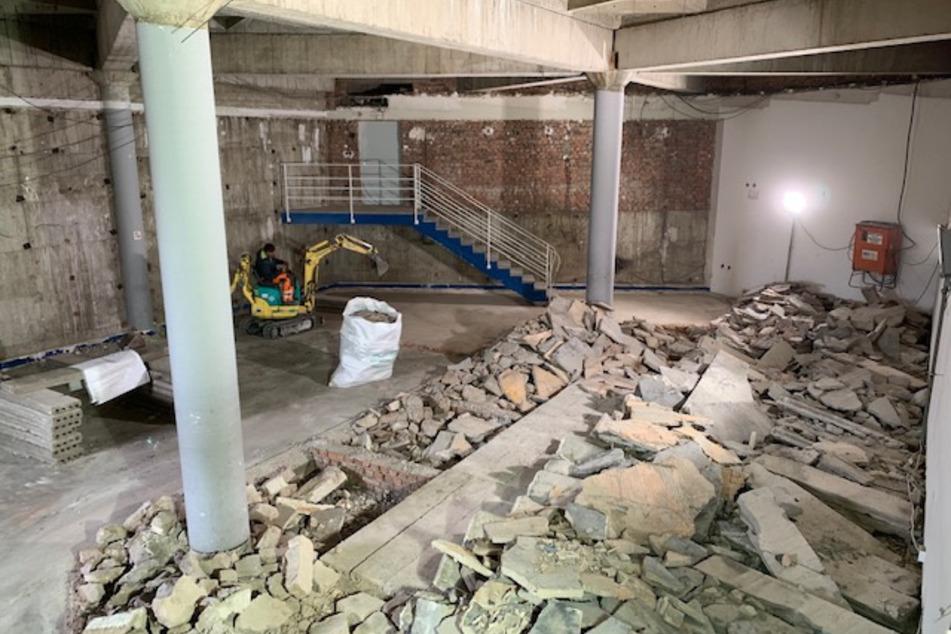 """Bauarbeiten für den """"Vulcanus""""-Raum: Vor der Umgestaltung fanden dort Orchesterproben statt."""
