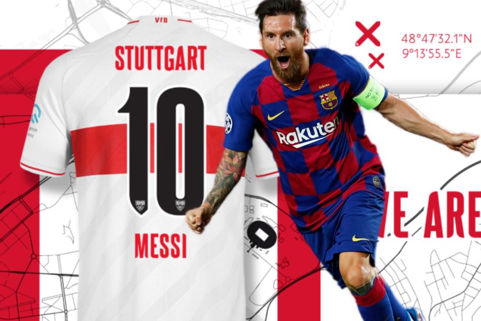 VfB Stuttgart hält die Nummer 10 für Lionel Messi bereit. (Fotomontage)