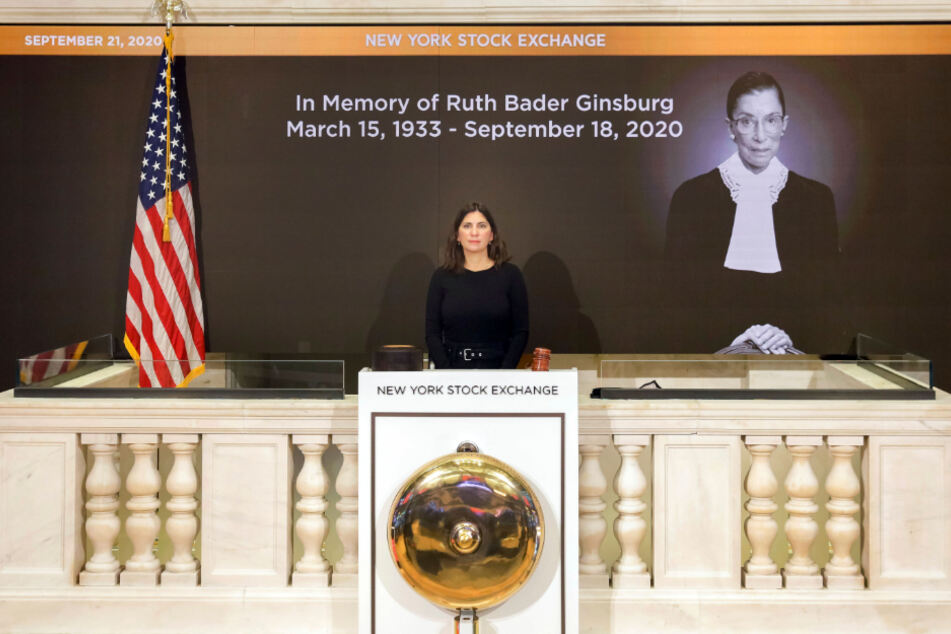 Stacey Cunningham, head of the New York Stock Exchange (NYSE), participates in a minute of silence dedicated to Ruth Bader Ginsburg, who died on September 18.