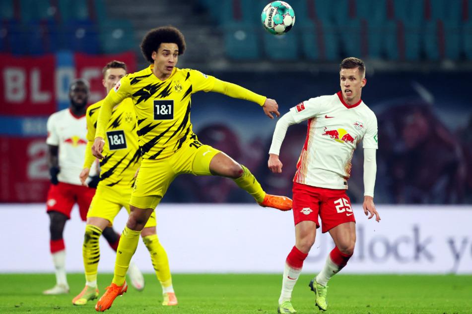 Hier war noch alles gut: Axel Witsel (31) im Zweikampf mit RB-Edeltechniker Dani Olmo (22). Der Ausfall des belgischen Nationalspielers trifft den BVB hart.
