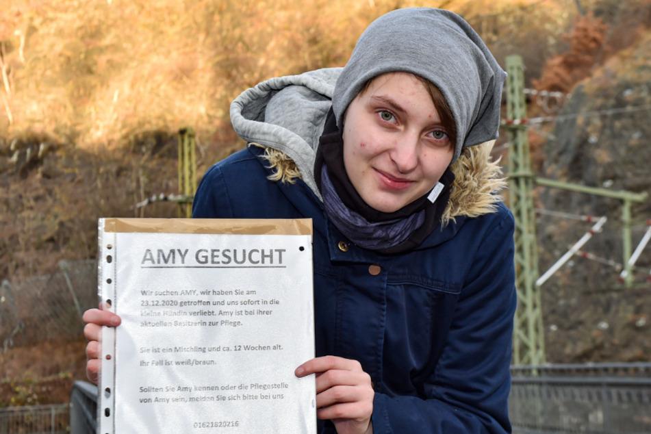 """Mit solchen Plakaten suchte Stella Kaiser (20) nach Amy: """"Ich will schon lange einen Hund und Mutti meinte, dieser oder keiner."""""""