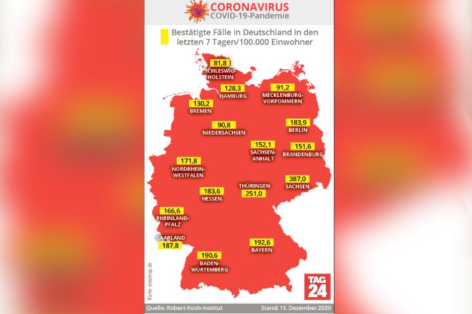 Die Inzidenzwerte der einzelnen Bundesländer.