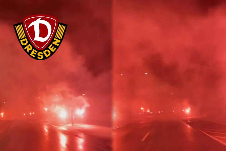 Dynamo-Fans heizen ihrem Derbysieger-Team mit Mega-Pyroshow ein!
