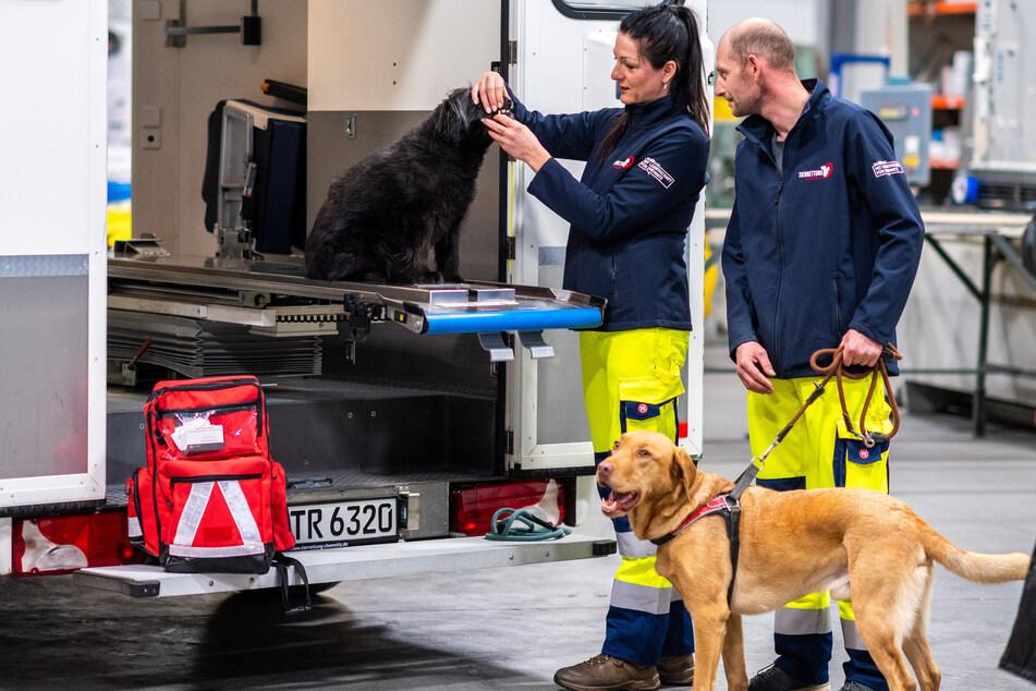 Der Rettungswagen für Tiere ist mit einer höhenverstellbaren Liege und viel Technik ausgerüstet. Die Tierretter probierten sie gleich aus.