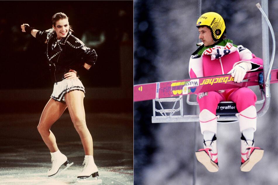 links: Katarina Witt als Rockerlady auf dem Eis. Eine amerikanische Zeitschrift hatte sie zum schönsten Gesicht des Sozialismus gekürt. rechts: Skiflieger Jens Weißflog auf dem Sessellift bei der Nordischen Skiweltmeisterschaft 1991 in Val die Fiemme.