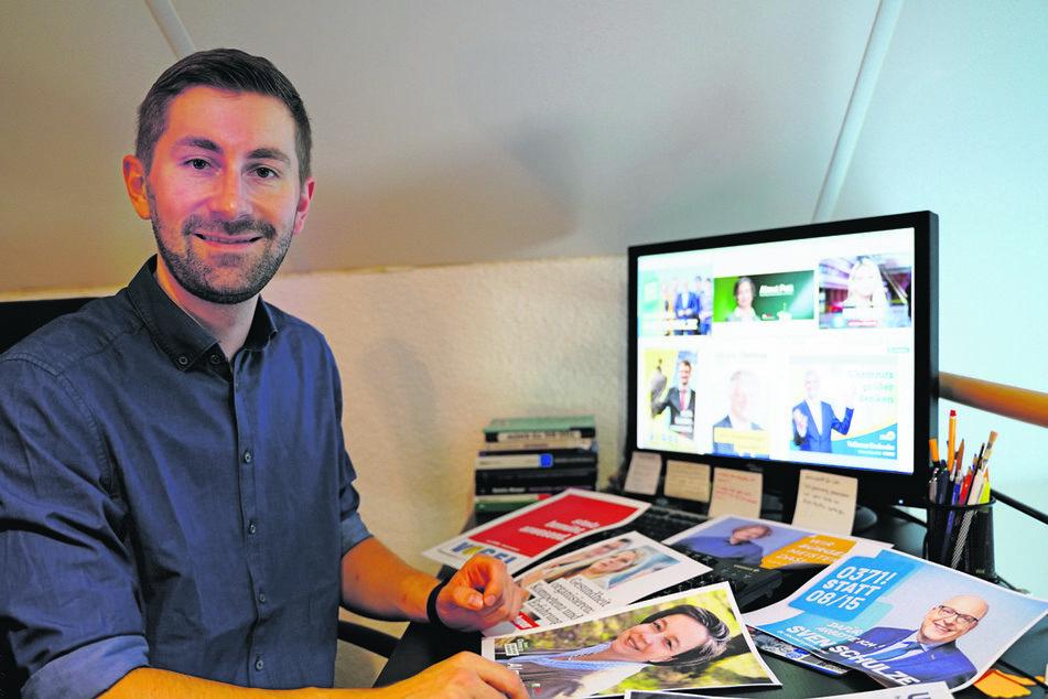 Politik- und Kommunikationsforscher Christopher M. Brinkmann (26) analysierte im Home-Office für TAG24 die Chemnitzer OB-Wahl-Plakate.