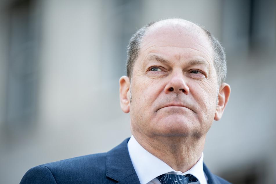 Olaf Scholz (SPD), Vizekanzler und Bundesminister der Finanzen, gibt eine Pressekonferenz.