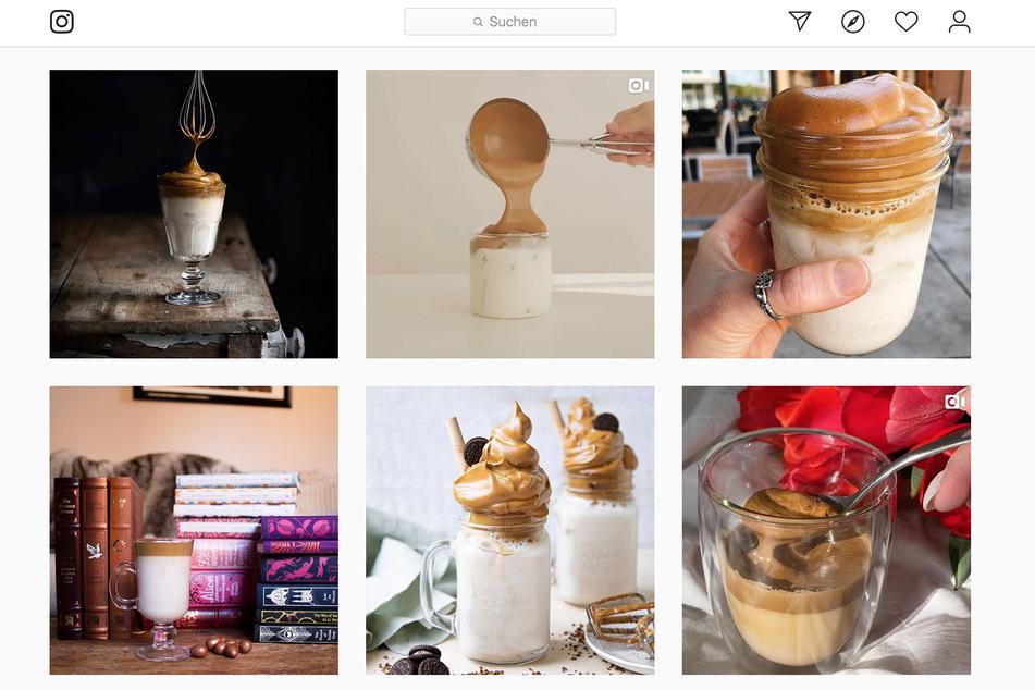 Zahlreiche Fotos und Videos machen auf Instagram Lust auf den Trend-Kaffee.