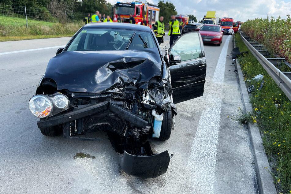 Auf der A72 gab es am Montag einen Unfall mit mehreren Fahrzeugen.