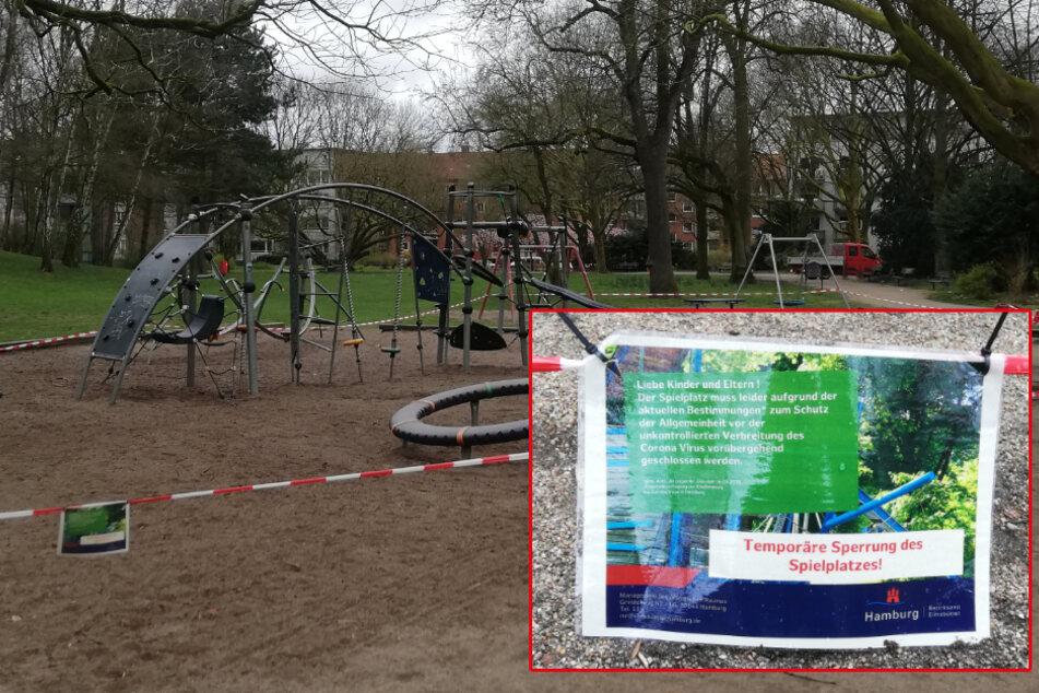 Ein Schild weist auf die Sperrung eines Kinderspielplatzes hin.