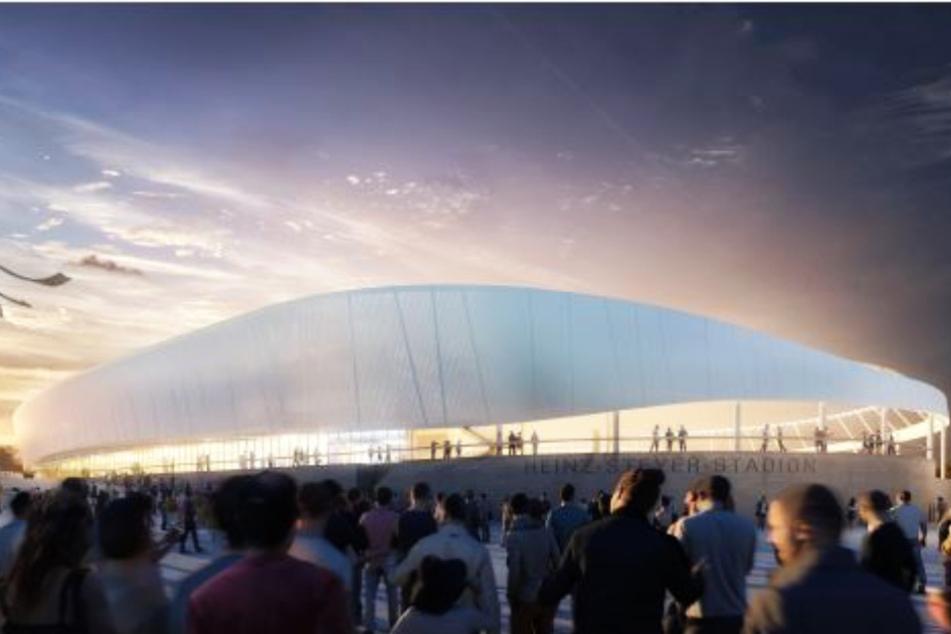 So soll das neue Steyer-Stadion von außen aussehen.