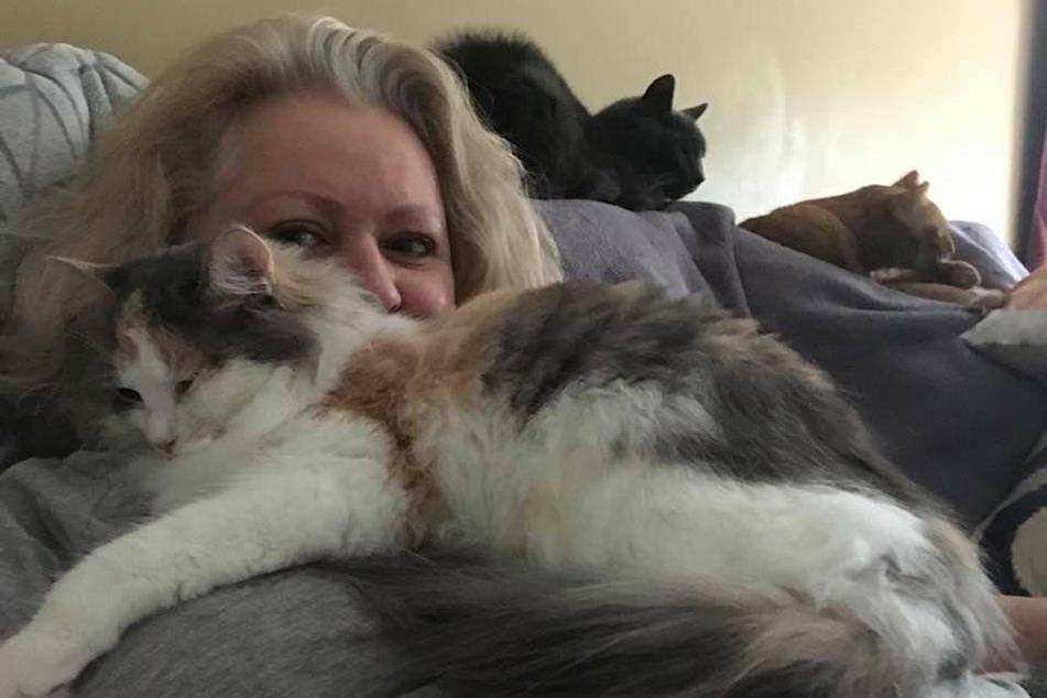 Rita Reimers (58) mit einigen ihrer Katzen.
