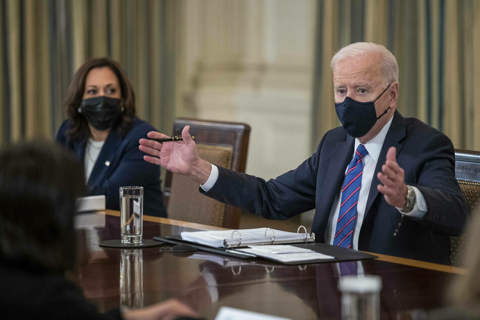 President Joe Biden, with Vice President Kamala Harris, delivers remarks in a meeting to address the situation at the US border.
