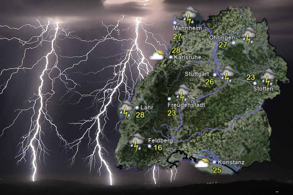 Am Wochenende wird es in ganz Baden-Württemberg regnen und gewittern. (Fotomontage)
