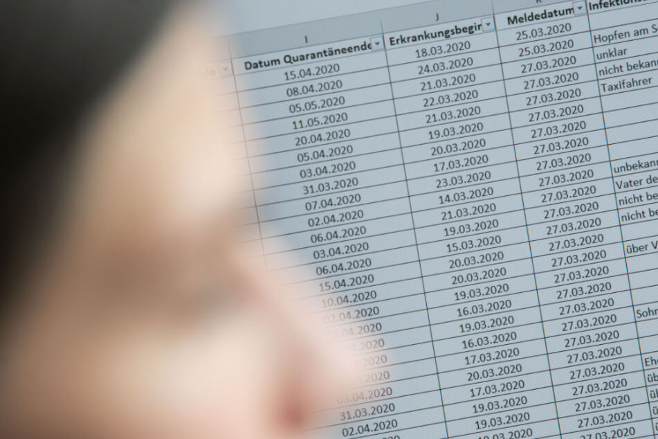 Jasmin Schneider an ihrem Arbeitsplat. Im Hintergrund ist auf einem Monitor eine Liste von Kontaktpersonen von positiv auf das Coronovirus getesteten Menschen zu sehen.