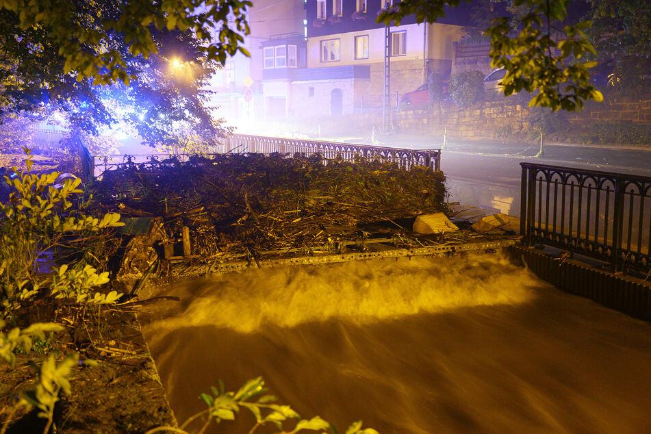 Holz und Geröll hat die Kirnitzsch an eine Brücke gespült.