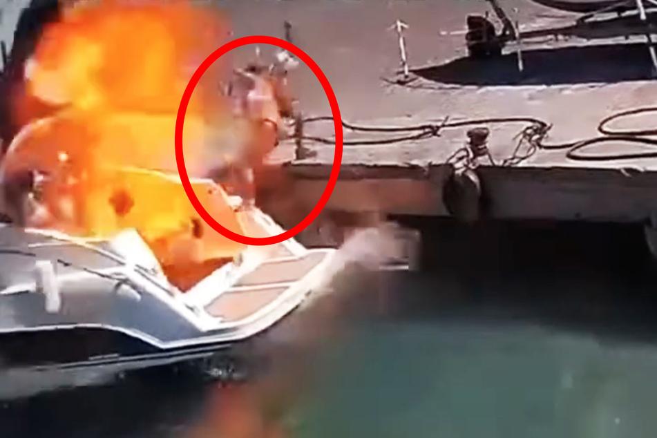 Video zeigt heftige Boots-Explosion: Frau fliegt durch die Luft!