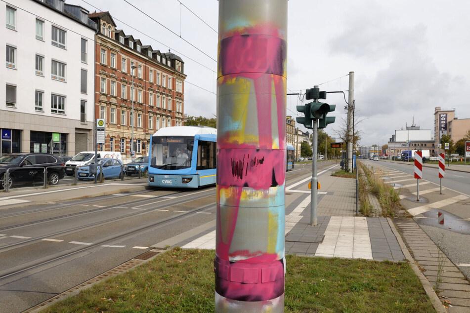 Schon wieder! Blitzer in Chemnitz beschmiert