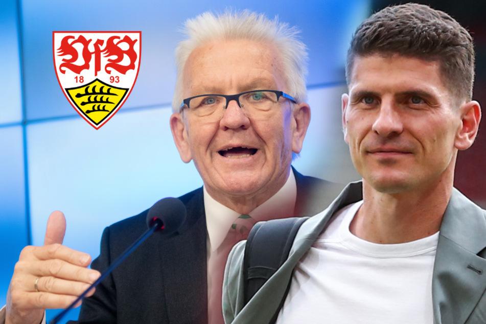 Kretschmann verabschiedet Mario Gomez mit besonderem Geschenk