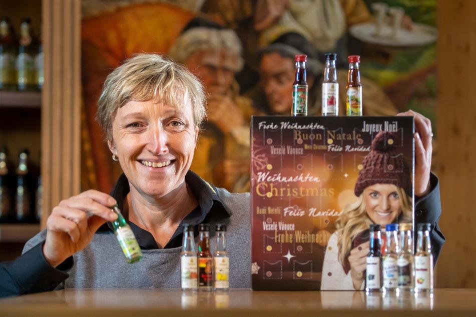 Kathleen Schwarz (45) von Lautergold freut sich über die Beliebtheit des Spirituosen-Adventskalenders.