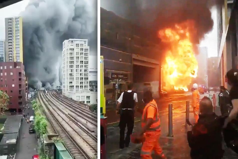 Dichte Rauchwolken ziehen sich durch die Londoner Häuserschluchten, nachdem es an einem Bahnhof zu einer Explosion gekommen war.