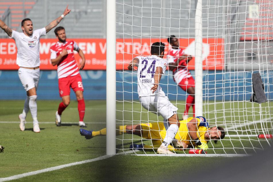 John Patrick Strauß trifft in dieser Szene zum 1:0 für den FC Erzgebirge Aue.