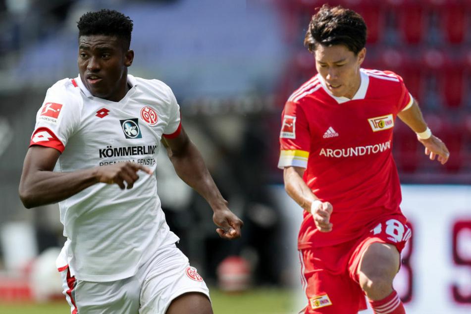 Die Neuzugänge Taiwo Awoniyi (23, l.) und Keita Endo (22) haben am Dienstag erstmals gemeinsam am Mannschaftstraining des 1. FC Union Berlin teilgenommen.