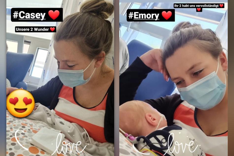 Sarafina Wollny (26) teilt in ihrer Instagram-Story süße Schnappschüsse von ihren Baby-Zwillingen. (Fotomontage)