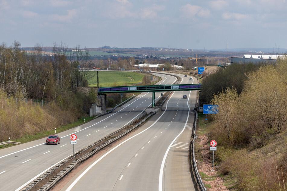 Kaum Verkehr: Die A72 bei Stollberg war weitestgehend leer.