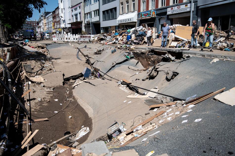 In Stolberg hat das Unwetter große Teile der Stadt zerstört.
