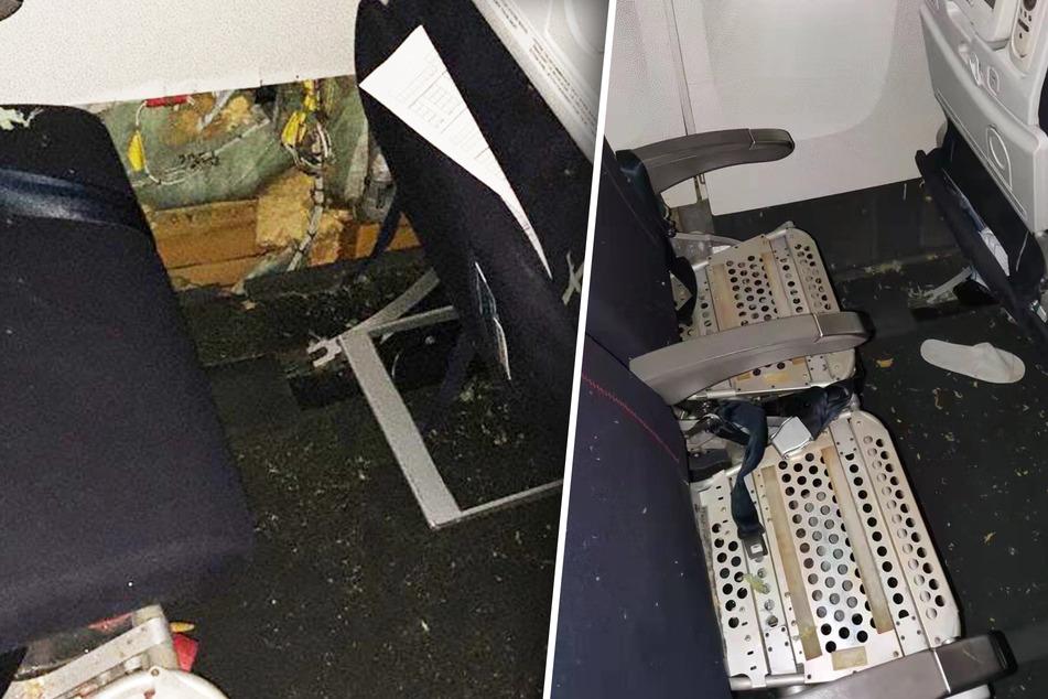 Die Kabinenwand wurde bei dem Vorfall im Fußraum komplett zerstört. Mehrere Sitze mussten anschließend auseinander gebaut werden.