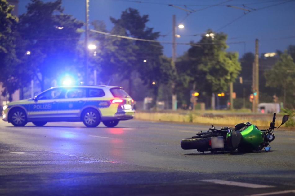 Auf dem Leipziger Ring verunfallte am Donnerstag ein Motorrad.