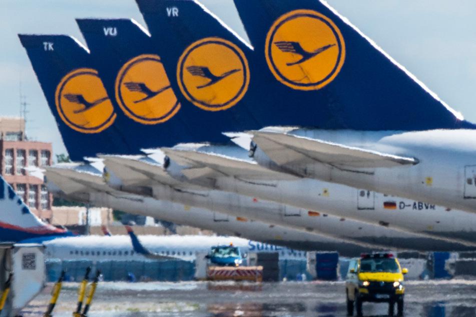 Das Foto vom 17. September zeigt Passagiermaschinen der Lufthansa auf dem leeren Rollfeld des Frankfurter Flughafens.