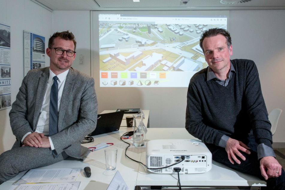 Baubürgermeister Raoul Schmidt Lamontain (43, Grüne) und Jörg Rainer Noennig (46) von der TU wollen von den Dresdnern wissen, welche Ideen sie für den Platz haben.