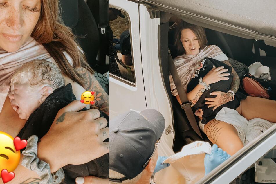 Mitten auf dem Standstreifen der Autobahn bekam diese junge Frau ihr Kind.