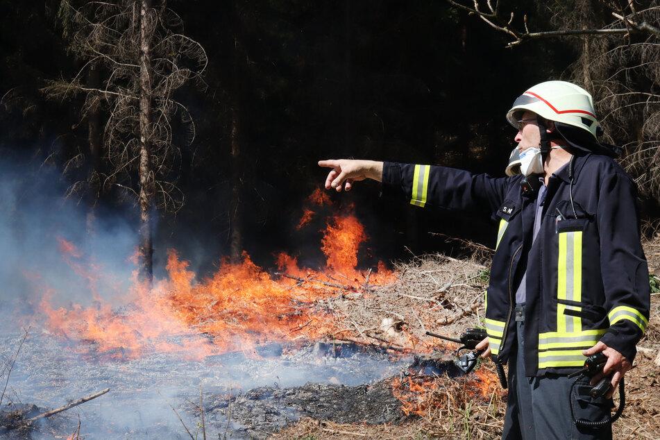 Ein Feuerwehrmann steht vor einem brennenden Waldstück bei Gummersbach.