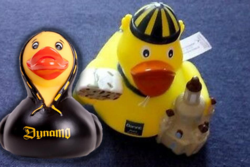 Die Dynamo-Ente (links) gibt es in vielen verschiedenen Ausführungen - auch mit Kapuzenshirt. Die Dorint-Ente hat Stollen und Frauenkirche unterm Flügel.