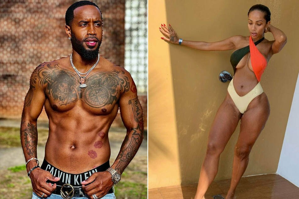 Safaree (l.) and Erica Menawed in October 2019 and have a daughter, Safire.