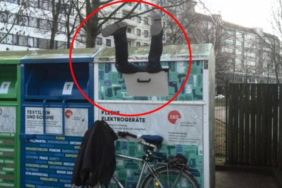 Polizeieinsatz wegen Mann, der im Müllcontainer steckt