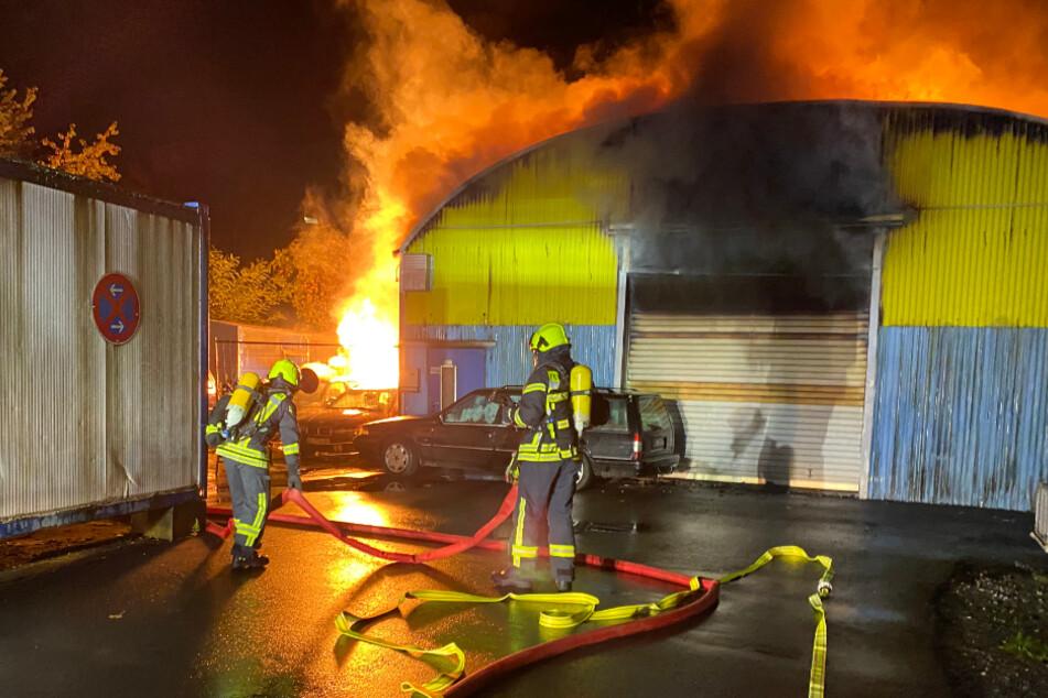 Riesen-Feuer: Flammen zerstören Lagerhalle und Fahrzeuge