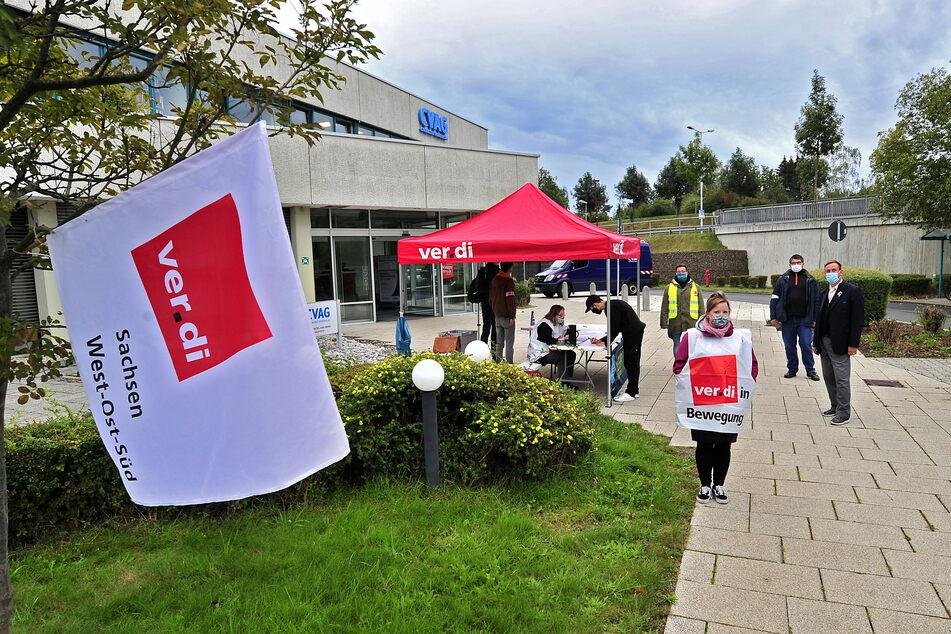 Streik am Betriebshof der CVAG in Adelsberg.