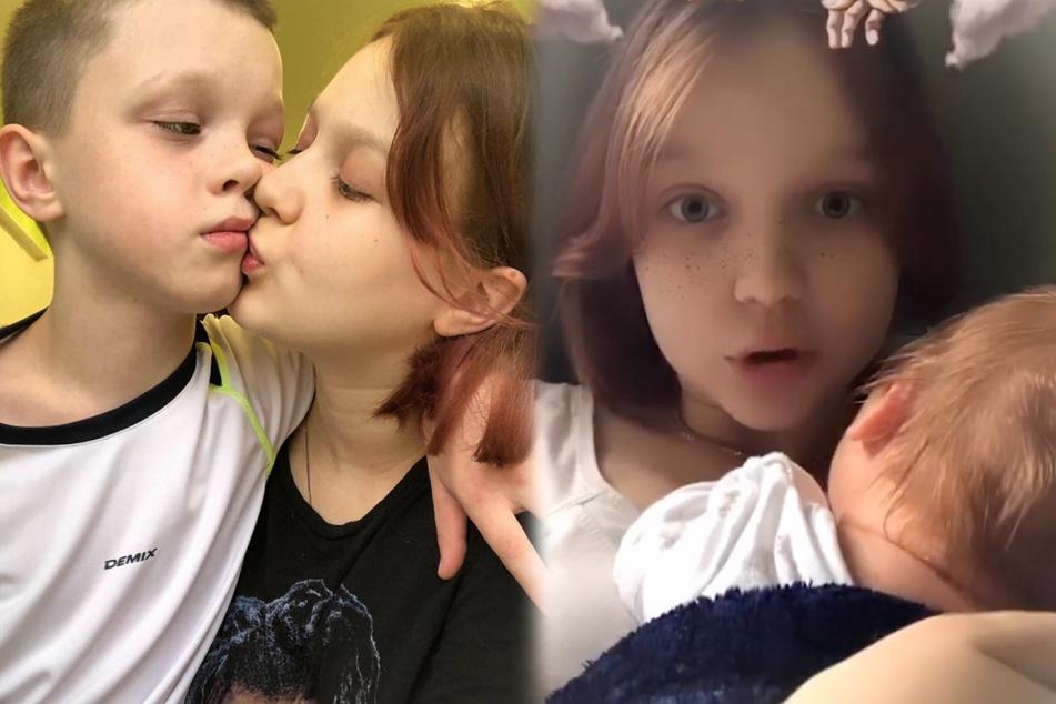 Darya Sudnishnikova (14) präsentiert auf Instagram bereits fleißig ihre neugeborene Tochter und zelebriert ihre Liebe zu ihrem elf Jahre alten Freund Ivan, (Bildmontage)