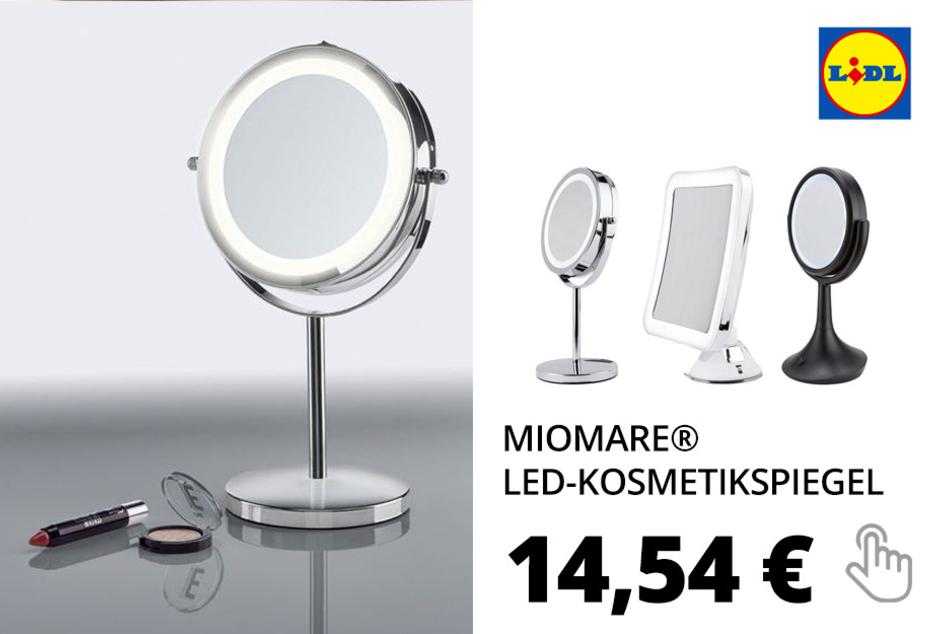 MIOMARE® LED-Kosmetikspiegel, Rand mit LED-Licht, drehbarer Spiegel, 5-fache Vergrößerung