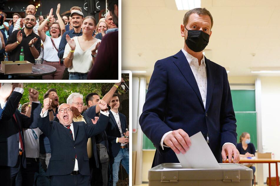 Von Jubel bis Katzenjammer: Sachsens Parteien machen Wahlparty - außer die AfD